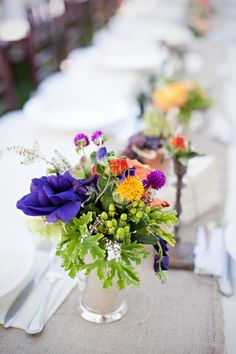 silver vases and vibrant colors