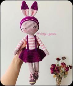 Amigurumi Mimi the Bunny in Hat Free Pattern – Free Amigurumi Patterns Doll Amigurumi Free Pattern, Crochet Bunny Pattern, Crochet Dolls Free Patterns, Crochet Rabbit, Crochet Bear, Free Crochet, Amigurumi Toys, Crochet Doll Clothes, Knitted Dolls