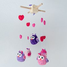Pink Owls Crochet Mobile - Baby Mobile - Nursery Mobile - Crib Mobile - Crochet Mobile - Nursery Decor - READY TO SHIP. $85.00, via Etsy.