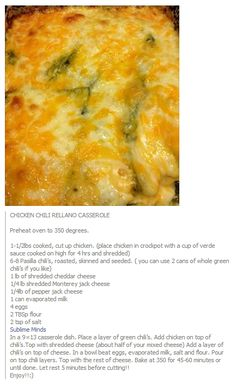Chicken Chili Rellano Casserole