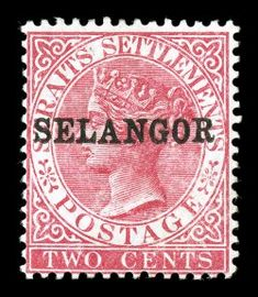 "S.G. #38b, 1889 2c Bright rose, with horizontal ""SELANGOR"" overprint, deeply rich color, full o.g., relatively lightly hinged, very fine overall; an immensely rare stamp that is one of the keys to completing a Malayan States collection"