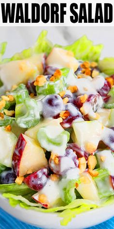 WALDORF SALAD RECIPE- Quick easy original old fashioned traditional classic salad from 1800 s Made in one pot or bowl with grapes apples celery walnuts mayonnaise Can be made healthy with yogurt dressing and more filling with chicken From Apple Salad Recipes, Salad Recipes For Dinner, Chicken Salad Recipes, Healthy Salad Recipes, Cucumber Recipes, Cucumber Tomato Salad, Health Recipes, Apple Grape Salad Recipe, Recipes With Celery