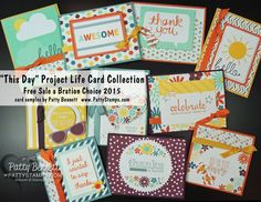 Free Stampin' Up! Project Life cards during Sale a Bration 2015 with your qualifying order!!  I turned them in to 10 greeting cards using In Color Card bases.. love how quick and easy they were! by Patty Bennett #stampinup #PLxSU #projectlife