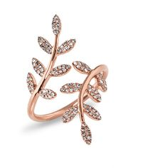 14KT Rose Gold Diamond Ivy Ring ($1,125) ❤ liked on Polyvore featuring jewelry, rings, diamond jewelry, red gold jewelry, rose gold diamond jewelry, pink gold diamond ring and diamond rings