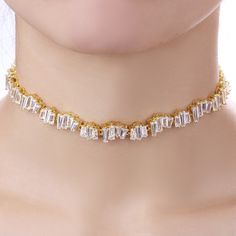 This would be super cute in silver!! Clustered Baguette Choker Necklace