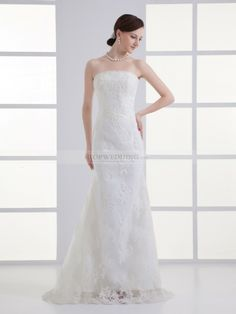 Strapless Mermaid Wedding Dress with Lace Overlay and Beaded Applique Detail