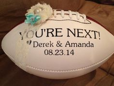 Personalized Football Garter Toss. This is great for any football fan and makes the garter toss much more fun and interesting! #footballgartertoss #gartertoss #wedding