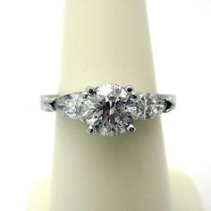 Diamond 3 Stone Engagement Ring with 158 by GoelTalaDiamondsInc, $2939.50