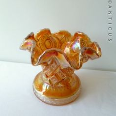 Heavy Marigold Carnival Glass Vase. (10113C) For Sale | Antiques.com | Classifieds