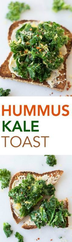 Hummus Kale Toast: a delicious gluten free and vegan breakfast or snack! Flavors like garlic, lemon, and red pepper flakes make for a truly spectacular toast! || http://fooduzzi.com recipes