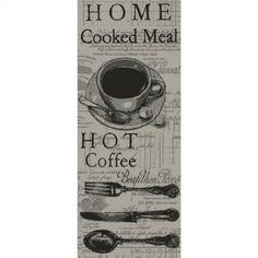 Esta alfombra es de color negro y gris con decoraciones para la cocina