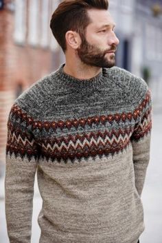 Buy Stone Fairisle Pattern Turtle Neck from the Next UK online shop Gents Sweater, Mens Knit Sweater, Outfits Casual, Mode Outfits, Men Casual, Ropa Semi Formal, Mens Fashion Sweaters, Mens Jumpers, Sweater Design