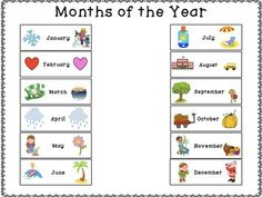 Calendar Months of the Year! This packet includes one page with all months as well as indiviudal pages for each month of the year.