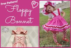 Floppy Bonnet Free Pattern!    Perfect for Bo Peep, Strawberry Shortcake, Gingerbread Girl, and many other costumes
