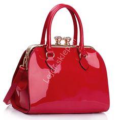 Lakierowana czerwona torebka damska - lakierowane torebki