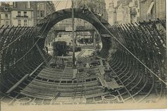 Construction : building the great caisson which will then be sunk to carry trains beneath the Seine at the Place Saint Canvas Print Framed, Poster, Canvas Prints, Puzzles, Photo Gifts and Wall Art Paris 1900, Old Paris, Paris France, Old Pictures, Old Photos, Metro Construction, Metro Paris, Paris Vintage, Dug Up