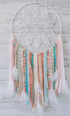 Pink and Blue Dream Catcher – Boho Nursery Dream Catcher – Pink Dreamcatcher – Boho Baby Shower Decor – Gifts for girls – Unique Gift Ideas – Macrame Dream Catcher Pink, Dream Catcher Decor, Beautiful Dream Catchers, Dream Catcher Nursery, Large Dream Catcher, Boho Nursery, Girly Bedroom Decor, Girls Bedroom, Bedroom Ideas