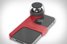 KOGETO DOT PANORAMIC IPHONE LENS  We've seen lots of camera lens add-ons for the iPhone, but never one like this. Built to work with the iPhone 4 and iPhone 4S, the Kogeto Dot Panoramic iPhone Lens ($50) lets you take full 360 degree photos and video using nothing but your phone. Thanks to a dedicated app, you simply hold your phone face-down and let the iConic lens capture your surroundings, which can then be uploaded for viewing on Kogeto's website, or via the Looker app.
