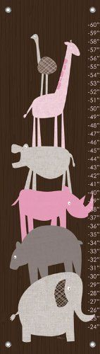 Oopsy Daisy Fine Art for Kids Animal Pile Up Pink Growth Chart by Vicky Barone, 12 by 42-Inch by Oopsy daisy, Fine Art for Kids. $49.00. Grommets placed in the four corners make them easy to hang. Giclee on canvas. Comes in a keepsake giftable green tube. Included decorative screw covers offer a polished look. Wipes clean with damp cloth. Personalized growth chart of a modern styled giraffe. Capture a moment in time and your child's measured milestones with creativel...