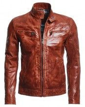 Lamb Leather Moto BomberJacket This lamb leather moto bomber has casual appeal. Plaid interior lining provides masculine edge while quilted elbow detailing up the look.  http://www.leathersshop.net/products/Lamb-Leather-Moto-Bomber-Jacket.html