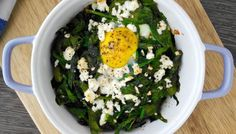 Baked Egg with Spinach and Feta  #recipe #breakfast #food #eggs #spinach #cooking