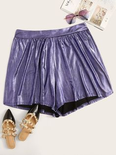 To find out about the Plus Wide Waistband Metallic Shorts at SHEIN, part of our latest Plus Size Shorts ready to shop online today! Plus Size Winter Outfits, Plus Size Fashion For Women, Plus Size Outfits, Plus Size Women, Wedding Dresses Plus Size, Plus Size Dresses, Metallic Shorts, Purple Fabric, Plus Size Shorts