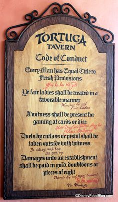 Tortuga Tavern, remember the Code of Conduct