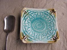 Sunflower Mandala Ceramic Trinket Dish with Stamped Floral Image in Aqua Blue and Brown, Handmade by Licia Lucas Pfadt