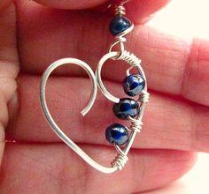 Beadwork Heart Earrings Beaded Heart Earrings Wire Heart Earrings Wire Wrapped Jewelry Handmade Clip On Avail.. $16.75, via Etsy.