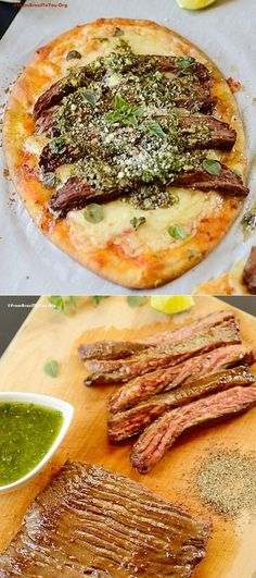 QUICK and TASTY Gaucho-Style Flatbread ('Grilled' skirt steak with chimichurri). Great for BRUNCH/lunch/dinner or as an appetizer! Grilling Recipes, Beef Recipes, Cooking Recipes, Healthy Recipes, I Love Food, Good Food, Yummy Food, Chimichurri, Steaks