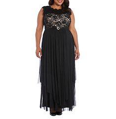 R&M Richards Plus Size Lace Bodice Dress