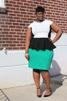 Black and white peplum top, and green pencil skirt from the blog Grown and Curvy Woman