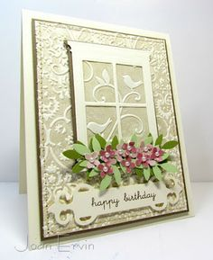 ink up the negative side of an embossing folder with a neutral ink and embossing either white or vanilla cardstock. This creates the illusion of porcelain.