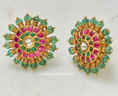 Indian Jewellery Designs - Page 44 of 1783 - Latest Indian Jewellery Designs 2020 ~ 22 Carat Gold Jewellery one gram gold Gold Earrings Designs, Gold Jewellery Design, Gold Jewelry, India Jewelry, Indian Earrings, Earrings Photo, Stud Earrings, Diamond Earing, Diamond Brooch