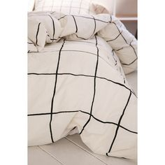 Wonky Grid Duvet Cover- Black & White King.  Duvet cover made from soft cotton in an allover grid print for a modern + geo update to any bedding.  Duvet insert…