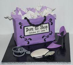 Lavender shopping bag cake with high heel shoe Shoe Cakes, Cupcake Cakes, Cupcakes, Fondant Cakes, Unique Cakes, Creative Cakes, Purple Birthday, 50th Birthday, Birthday Ideas