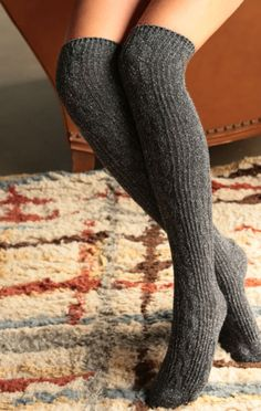 Warm and Wool Boot Socks (Charcoal)