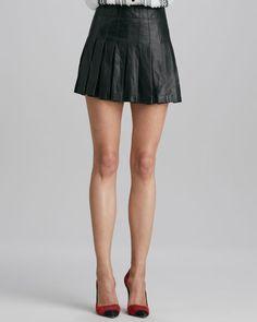 Alice + Olivia - Pleated Leather Miniskirt