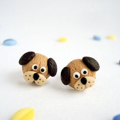 Dog Post Earrings Fun Handmade Polymer Clay by Thelittlecreatures