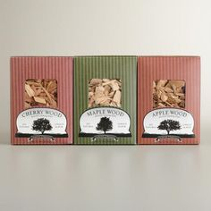 One of my favorite discoveries at WorldMarket.com: Flavored Smoking Wood Chip Samplers, 3-Pack