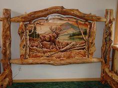 Burl Aspen Log Beds with Carved Panel, Log Furniture, Cabin