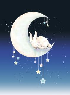 Sleeping Moon Bunny by ~tunnelinu on deviantART