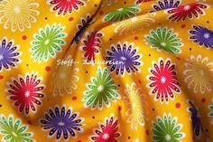 Tante Ema Folly Woods Blumenbeet Blüten Punkte Polka Dots gelb bunt Meterware