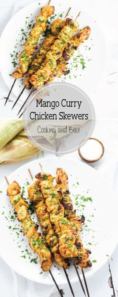 Grilled Mango Curry Chicken Skewers are an upscale outdoor weeknight or weekend dinner recipe! They are great in tacos, on salads, or all by themselves!: