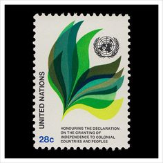 Declaration of Granting Independence of Colonial Countries and People — United Nations Postage Stamp Design, Postage Stamps, Love Stamps, Print Layout, Design Graphique, United Nations, Recycled Art, Stamp Collecting, Graphic Design Typography