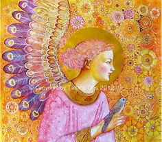 Angel with a Bird  Print from original watercolor by tatianaflor, $30.00