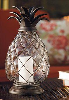 Pineapple Hurricane Lantern-Frontgate So nice! Hurricane Lanterns, Candle Lanterns, Pillar Candles, British Colonial Decor, Hawaiian Decor, Home Decor Furniture, Outdoor Furniture, Decorative Accessories, Outdoor Decor