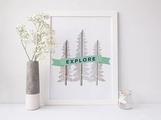 PRINTABLE Art Explore Trees Print, Scandinavian, wanderlust, white painted wood texture, by WillowandBirchPrints on Etsy