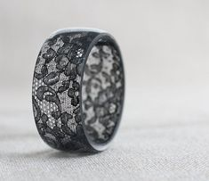 awesome Black Lace Resin Bangle Bracelet Vintage French Lace Wide Cuff OOAK neutral rust...