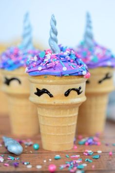 Make your party magical with these easy and delicious unicorn themed desserts. From cupcakes to popcorn these desserts are guaranteed to plase a crowd. Cônes Cupcake, Cupcake Videos, Kid Cupcakes, Cupcake Recipes, Ice Cream Cupcakes, Ice Cream Cupcake Cones, Icecream Cone Cupcakes, Ice Cream Cone Cake, Diy Unicorn Cake